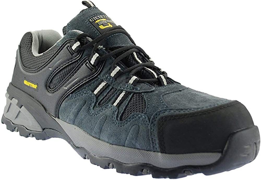 Grafters Composite Non Metal Lightweight Safety Toe Cap Mens Suede Trainer Shoes