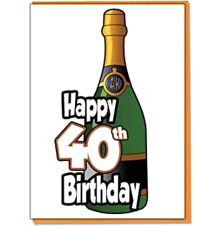 Champagne Bottle 40th Birthday Card
