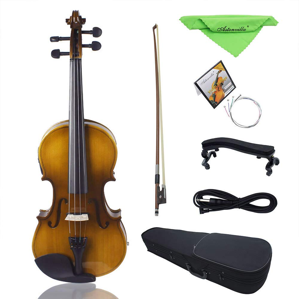 4/4 Full Size Acoustic EQ Electric Violin Fiddle Kit Solid Wood Spruce Face Board with Bow Hard Case Shoulder Rest Audio Cable Extra Strings Clean Cloth Retro Sunset