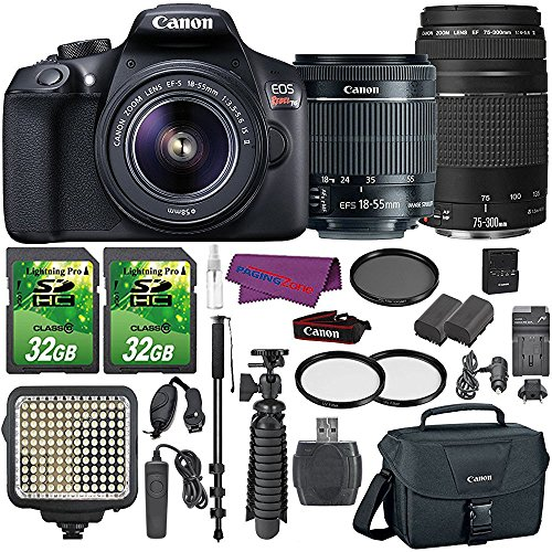 Canon EOS Rebel T6 Digital SLR Camera with EF-S 18-55mm IS II Lens + EF 75-300mm III Telephoto Zoom Lens and Accessory Bundle (15 - Uv Polarizing Filter Vs