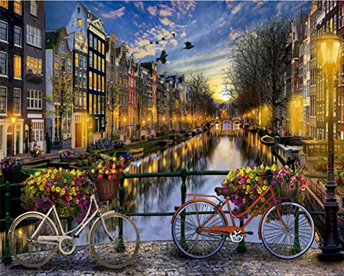May Trees Paint by Numbers, DIY Painting by Numbers for Adults Beginner and Kids - Bicycle Flower Beautiful Amsterdam 16x20 inch Paint by Number Kits (Frameless)