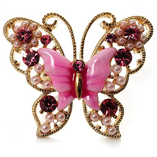 (Avalaya Large Bright Pink Enamel Butterfly Ring (Gold)