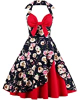 Suroomy Vintage Cocktail Dress Halter Swing Pin Up Homecoming Dresses