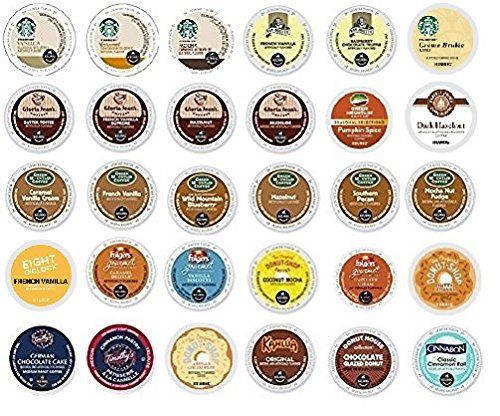 30 Pack - Variety Flavored Coffee Sampler K-Cup for Keurig K Cup Brewers and 2.0 brewers - From Top Brand Names Green Mountain, Folgers, Van Houtte, Gloria Jean's, Timothy's and Starbucks