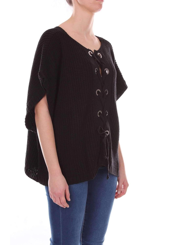 AKEP Womens CKE02BLACK Black Wool Cardigan