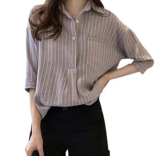 c439588b DEATU Women Plus Size Work Shirt Classic Vertical Striped Button Casual  Loose 3/4 Sleeve. Roll over image to zoom in