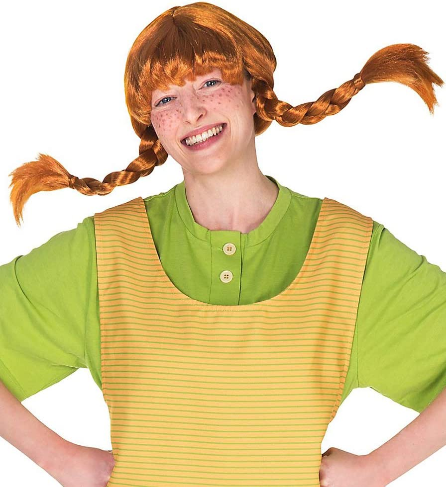 Original Pippi Langstrumpf Perücke für Erwachsene - rote Haare mit ...