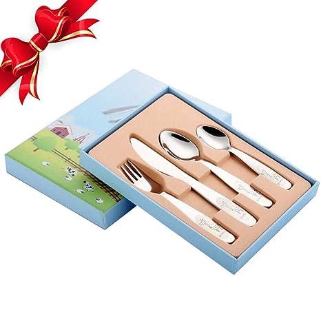 Jannyshop 4 Piezas Cubiertos para Infantil de Acero Inoxidable Cubiertos de Vajilla para Niños (1 Tenedor + 2 cucharas + 1 Cuchillo)