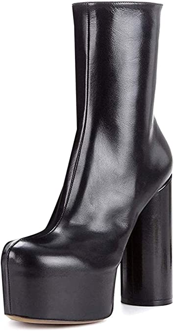Womens High Chunky Heels Platform Ankle Riding Boots Zip Side Round Toe Shoe G56