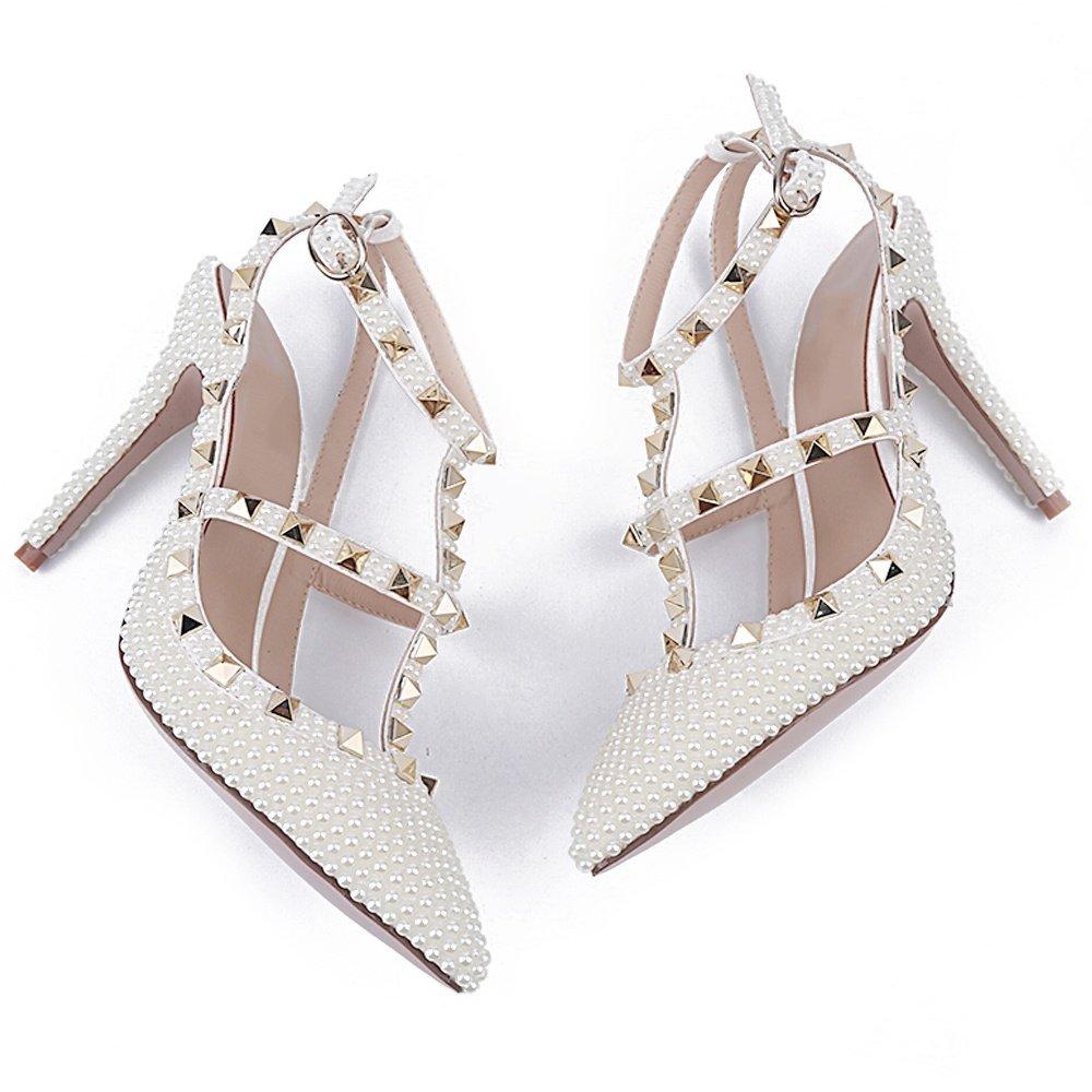 L@YC Damenschuhe High Sommer Heel Niet Frühling Sommer High T-Strap Heels Stiletto Heel Hochzeit & Abendkleid Weiß dd864b
