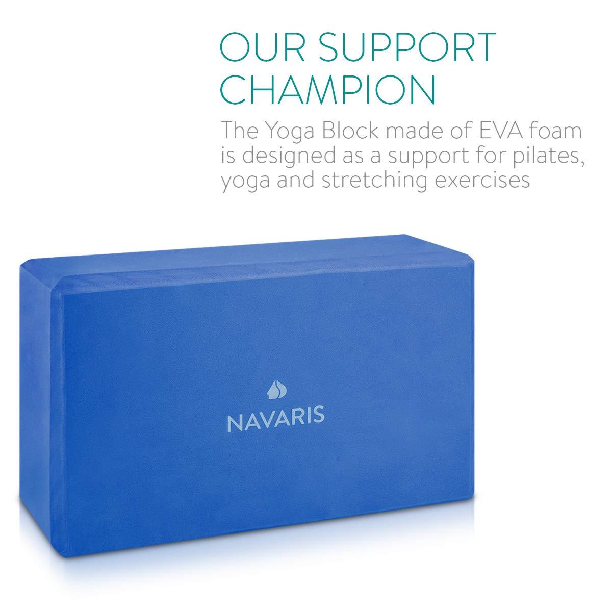 Navaris Set 2en1 Bloque de Yoga - 2X Bloques Antideslizantes para Yoga y Pilates - Accesorio para Ejercicios - Ladrillos para Equilibrio en Azul