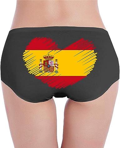 Adamitt Bandera de España en Forma de corazón Algodón para Mujer Cintura Baja Bragas básicas Ropa Interior de algodón: Amazon.es: Ropa y accesorios