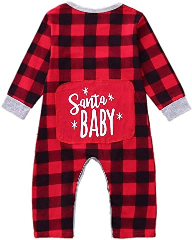 US Christmas Clothes Baby Girl Romper Plaids Ruffle Jumpsuit One Piece Clothes