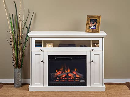 Lovely Windsor Wall Or Corner Infrared Electric Fireplace Media Cabinet In White   23DE9047 PT01