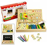 BBLIKE Wooden Counting Toy for Kids, Double Sides Board for Teaching Math and Drawing Writing, Teaching Clock, Times Tables and Wooden Number Blocks Early Educational Toy for Children