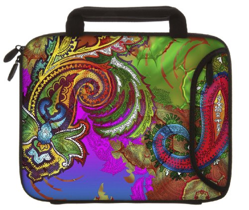 Designer Sleeves 8.9-Inch to 10-Inch Paisley Blush Tablet Sleeve/iPad Sleeve with Handles, Rainbow (10DSH-PAISBL)