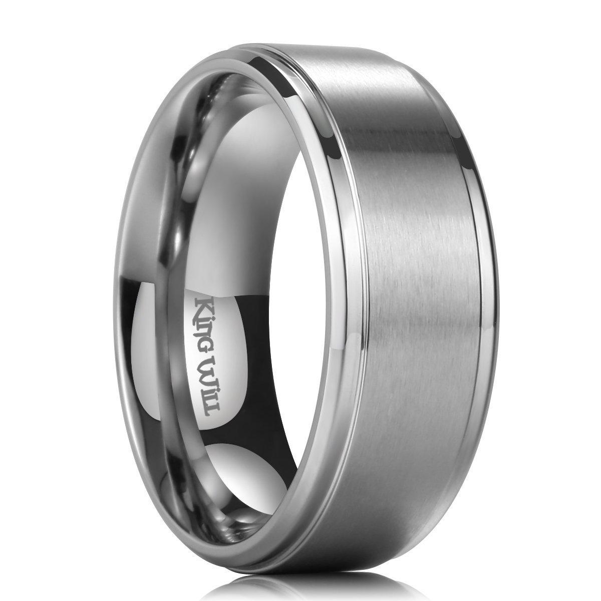 King Will BASIC 9mm Mens Titanium Wedding Ring Matte Finished Wedding Band Men Women (8)