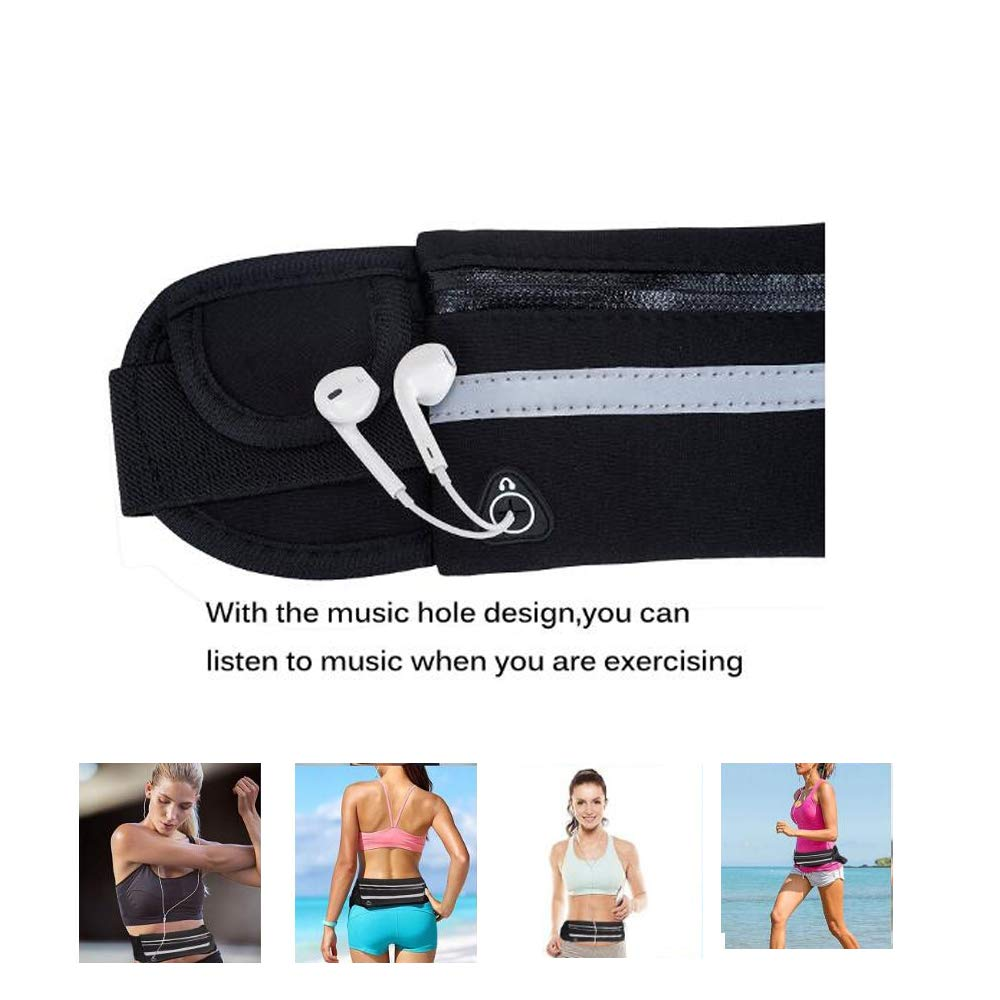 Kaxyewsz Running Belt Waist Pack for Men Women, Waterproof Runner Belt Sport Fanny Pack Phone Waist Bags with Headphone Hole, Soft Running Pouch for Card Money Travel Fitness Workout Exercise Sports
