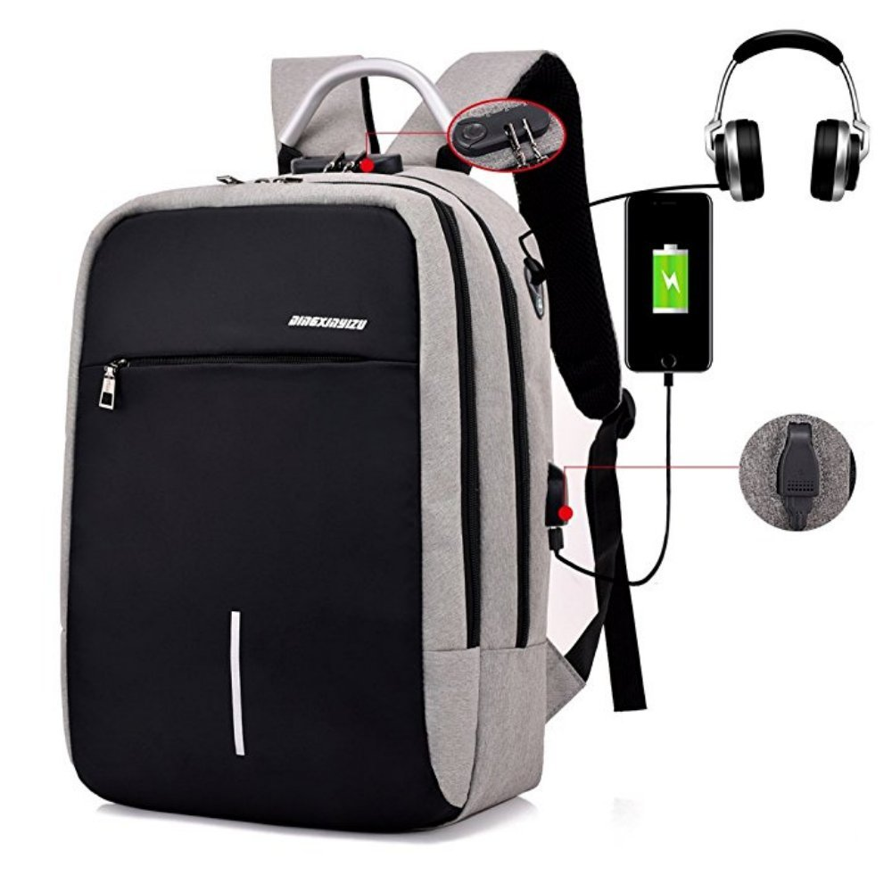 Anti-theft Business Laptop Backpack With USB Charge Port,Lightweight Outdoor Waterproof Travel College Backpack (Gray 1)