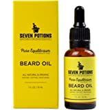 Seven Potions - Best Beard Oil & Leave-in Conditioner 1 fl oz. Fragrance Free Beard Softener. Stops Beard Itch. Natural, Organic, Beard Conditioning Oil. Contains Jojoba Oil (Pure Equilibrium)