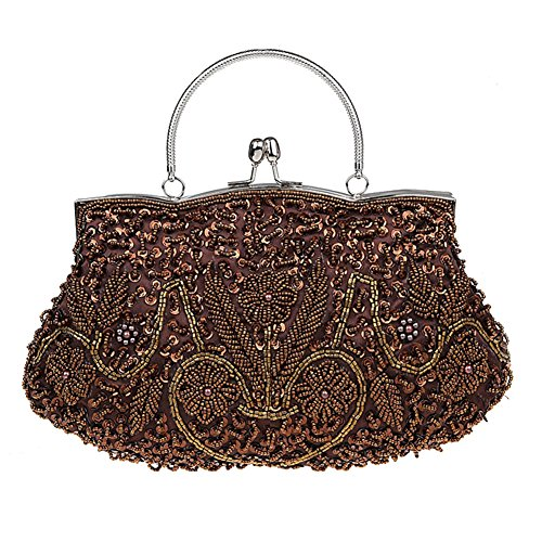 Albabara Satin Beaded Handmade Clutch Purse Evening Handbags,Brown