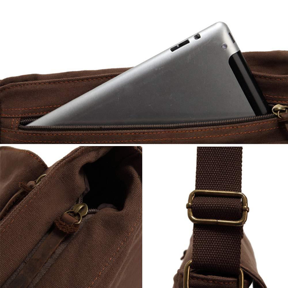 Business Shoulder Bag Work Briefcase,Beige ALTINOVO Men Vintage Messenger Bag Made of Waterproof Canvas