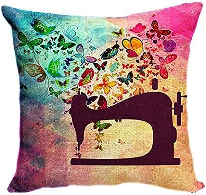 Violetpos funda de cojín decorativo sofá cojín funda Auto Fundas de cojín fundas de almohada lo Interesante Máquina de coser mariposa Schön, lino, morado, 60 x 60 cm: Amazon.es: Hogar
