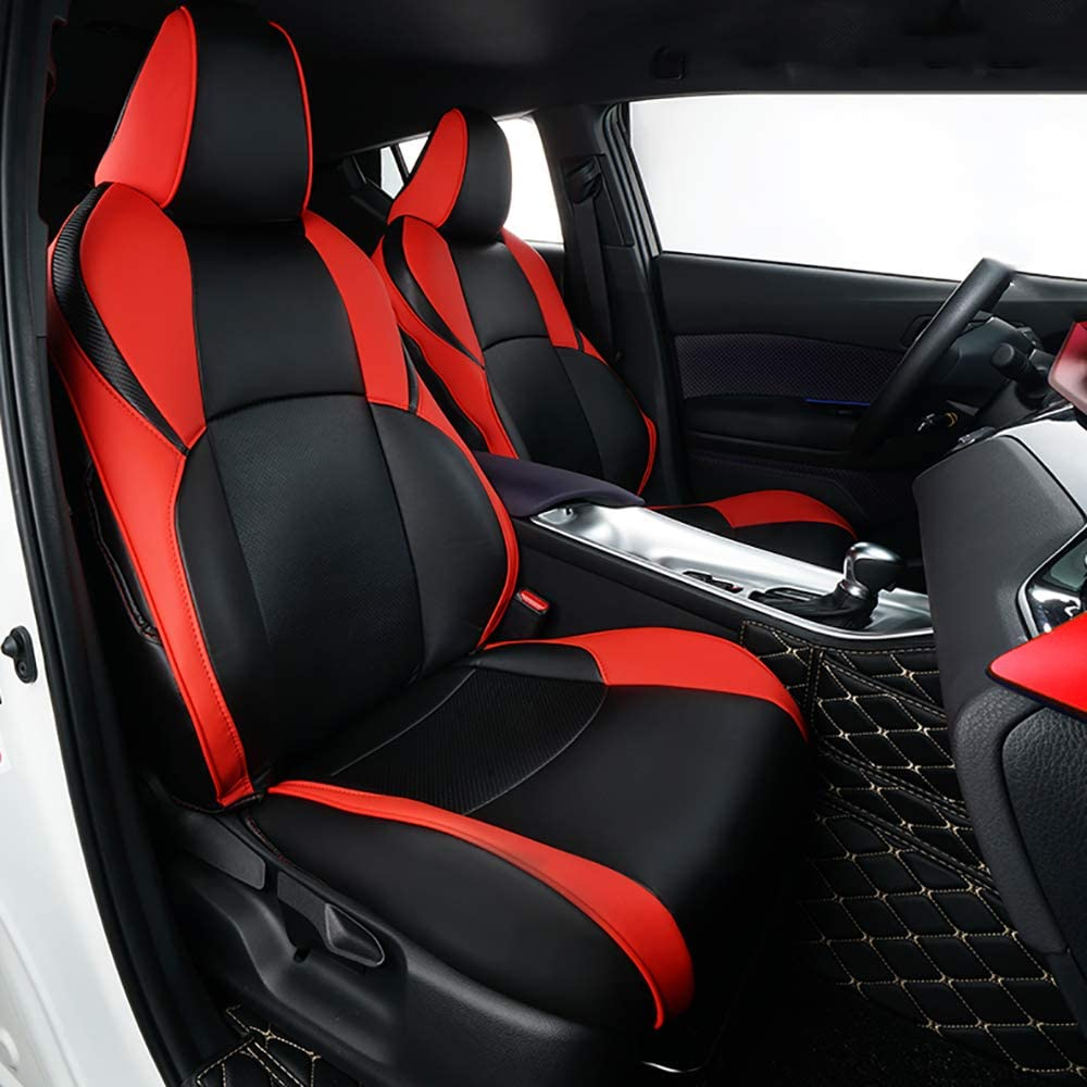 Black//Red Complete Set Car Seat Covers
