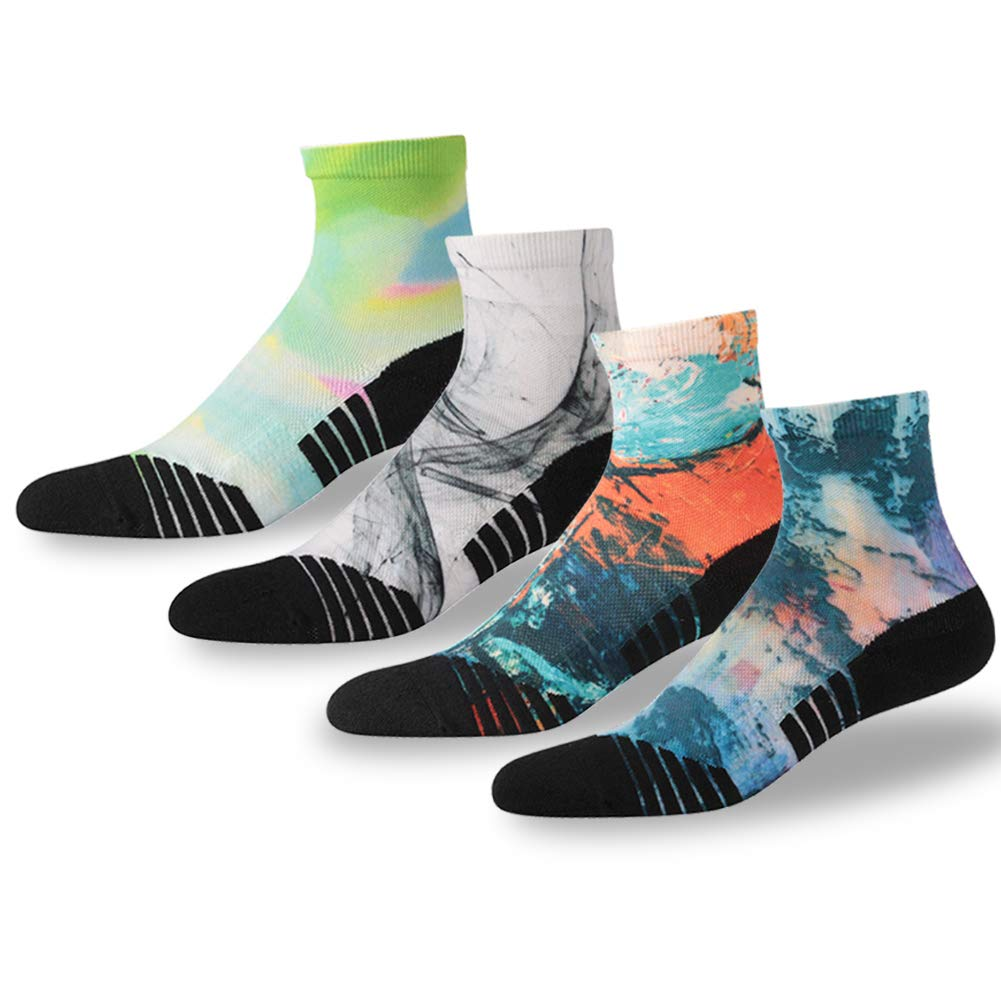 NIcool Running Crew Socks, Women's Anti-Blister Performance Basketball Stylish Pattern Exercise Quarter Ankle Socks, 4 Pairs, Multicolor by NIcool