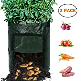 Planting Bags, Ohuhu 10 Gallon 2-Pack Durable Garden Potato Grow Bags, Upgraded PE Aeration Pots with Portable Access Flap & Handles, Soil Container Planter for Potato, Carrot, Onion Vegetables Flower