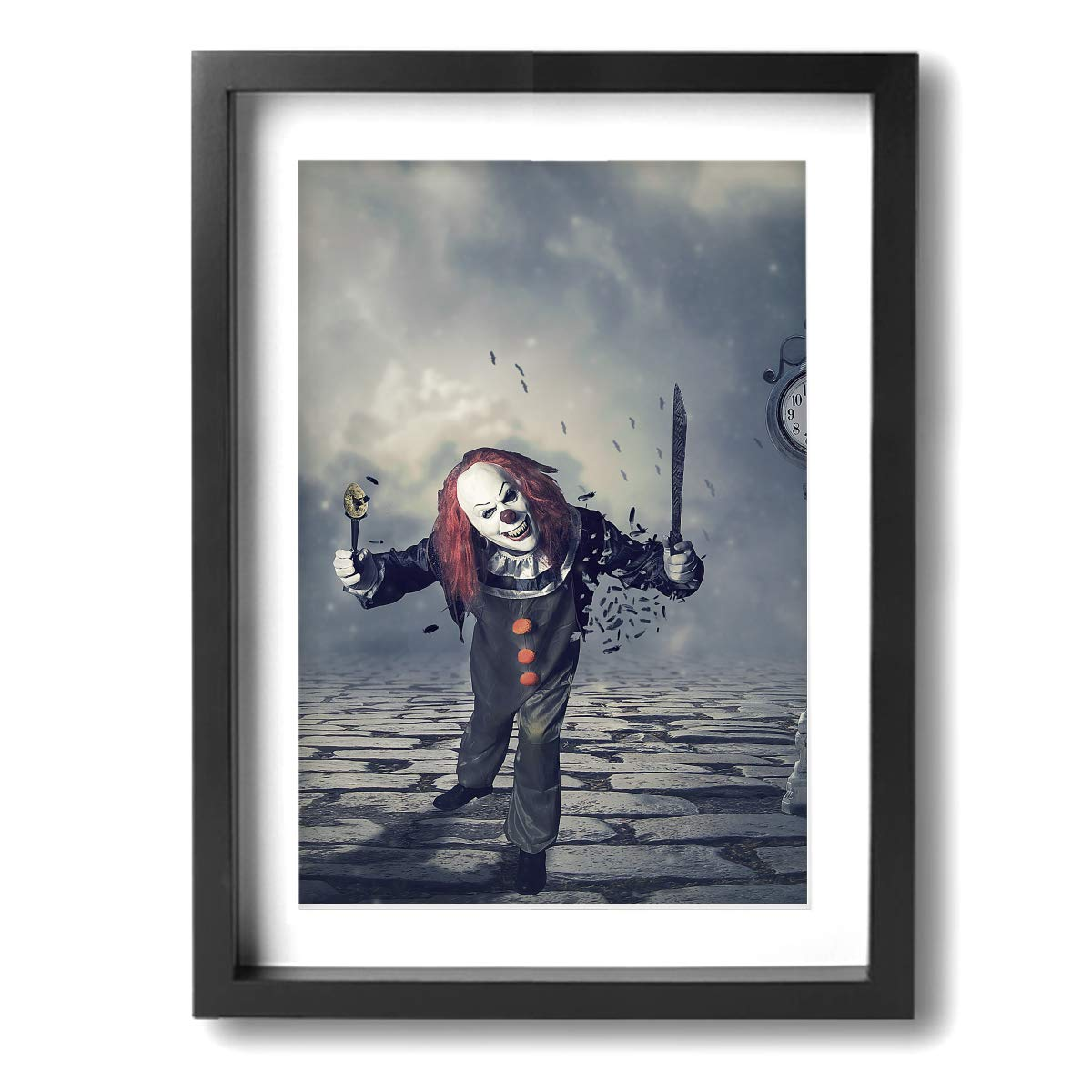Achujuyou Canvas Wall Art Decor Evil Clowns Framed Prints Painting Modern Artwork Pictures Ready to Hang Home Decoration 12x16in