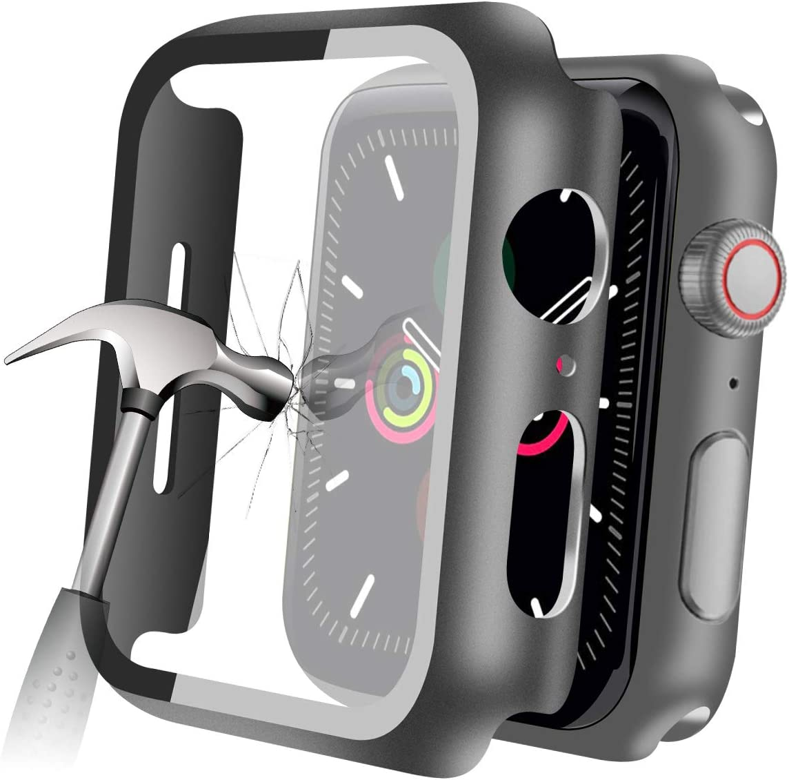 YMHML Compatible with Apple Watch 42mm Series 3/2/1 Case with Built-in Tempered Glass Screen Protector, Thin Guard Bumper Full Coverage Matte Hard Cover for iWatch Accessories