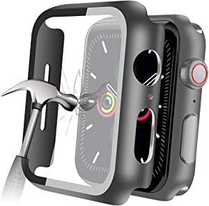 YMHML Compatible with Apple Watch SE Series 6 Series 5/4 44mm Case with Built-in Tempered Glass Screen Protector, Thin Guard Bumper Full coverage Matte Hard Cover for iWatch Accessories