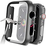 YMHML Compatible with Apple Watch 38mm Series 3/2/1 Case with Built-in Tempered Glass Screen Protector, Thin Guard Bumper Ful
