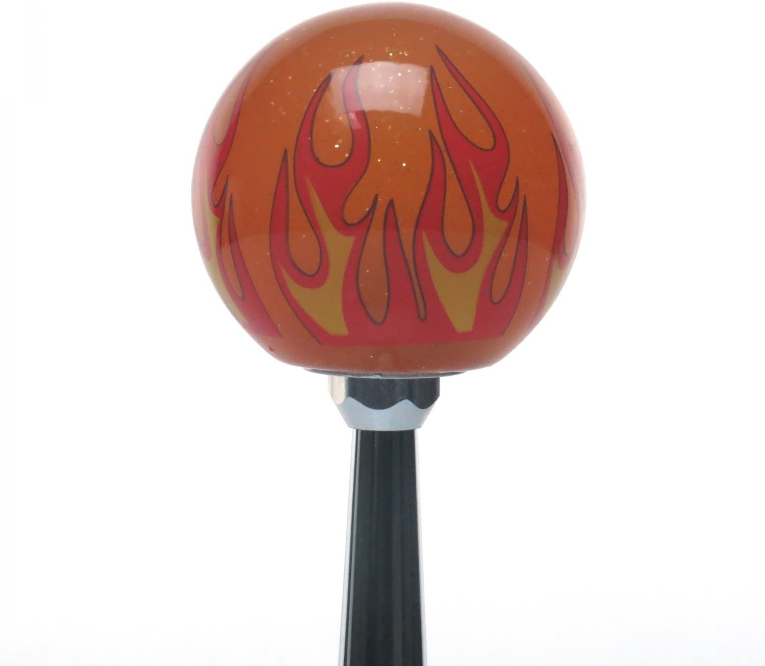 American Shifter 299129 Shift Knob Black Gemini Orange Flame Metal Flake with M16 x 1.5 Insert