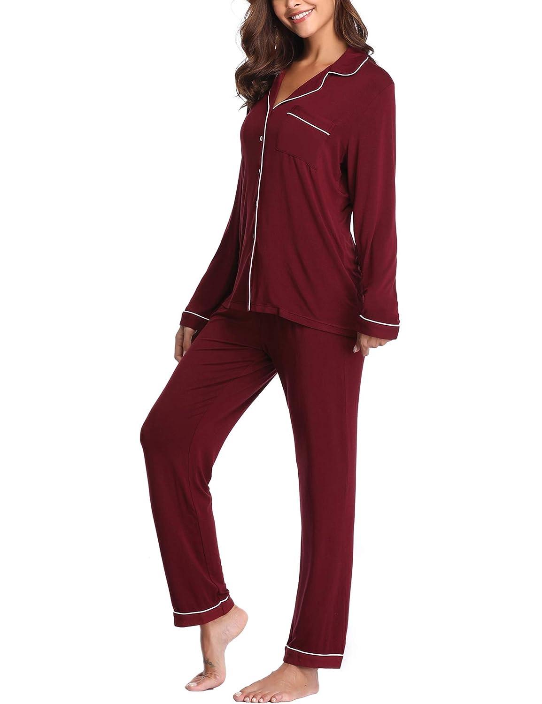 Lusofie Pajamas Set Women Short Sleeve Nightwear Button Down Soft Pjs Sleepwear with Pockets