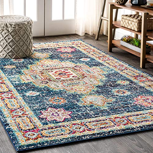 JONATHAN Y BMF100 Bohemian Flair Boho Vintage Medallion Navy/Red 8 ft. x 10 ft. Area Rug, 7