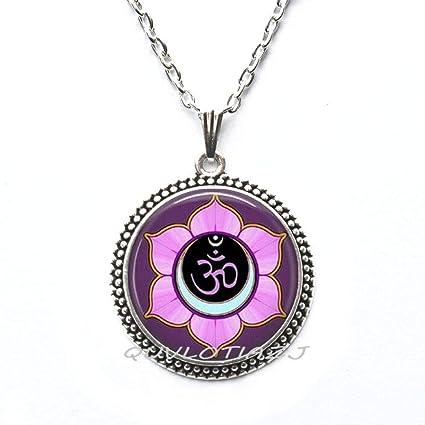 Amazon.com: QUVLOTIAZJ Om collar, collar de yoga, flor de ...