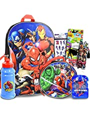 """Marvel Avengers Backpack for Boys Girls Kids - 7 Pc Bundle With 16"""" Superhero School Bag, Lunch Bag, Water Bottle, Stickers, And More (Avengers School Supplies)"""