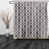 HAIXIA Shower Curtain Modern Fabric by Tribal and Geometric Ethnic Design with Borders Stripes Lines Artwork Fabric White and Army Green