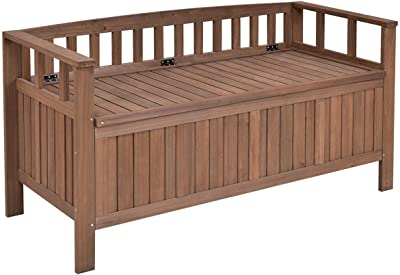 Goplus 70 Gallon Outdoor Storage Bench Heavy Duty All Weather Patio Garden  Deck Box Container