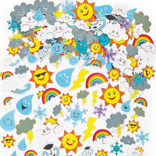 Baker Ross Foam Weather Stickers (Pack of 96) For Kids Card Making, Scrapbooking and Collage