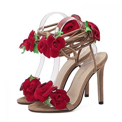 b929a3e801 THE LONDON STORE Women's Rose Flower Cross Tied High Heels Rubber Sandals  (4, Red