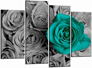 LevvArts - 4 Piece Wall Art Romantic Aqua Rose Picture Canvas Prints for Bedroom Wedding and Bridal Decoration Modern Teal and Grey Floral Artwork Framed Ready to Hang