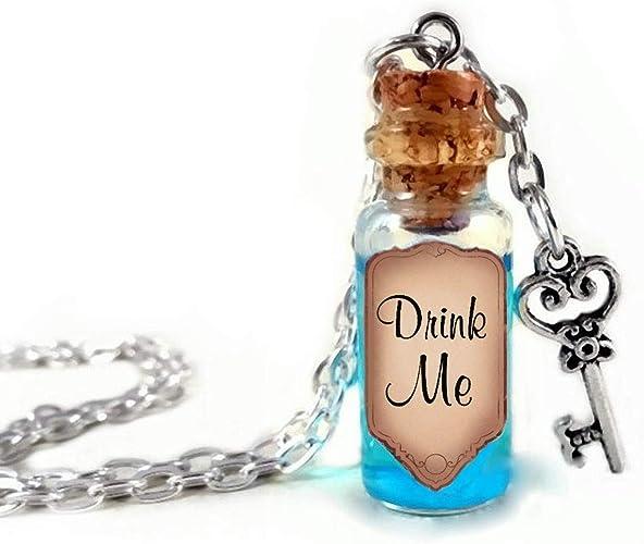 Alice in Wonderland Drink Me Bottle Charm Necklace