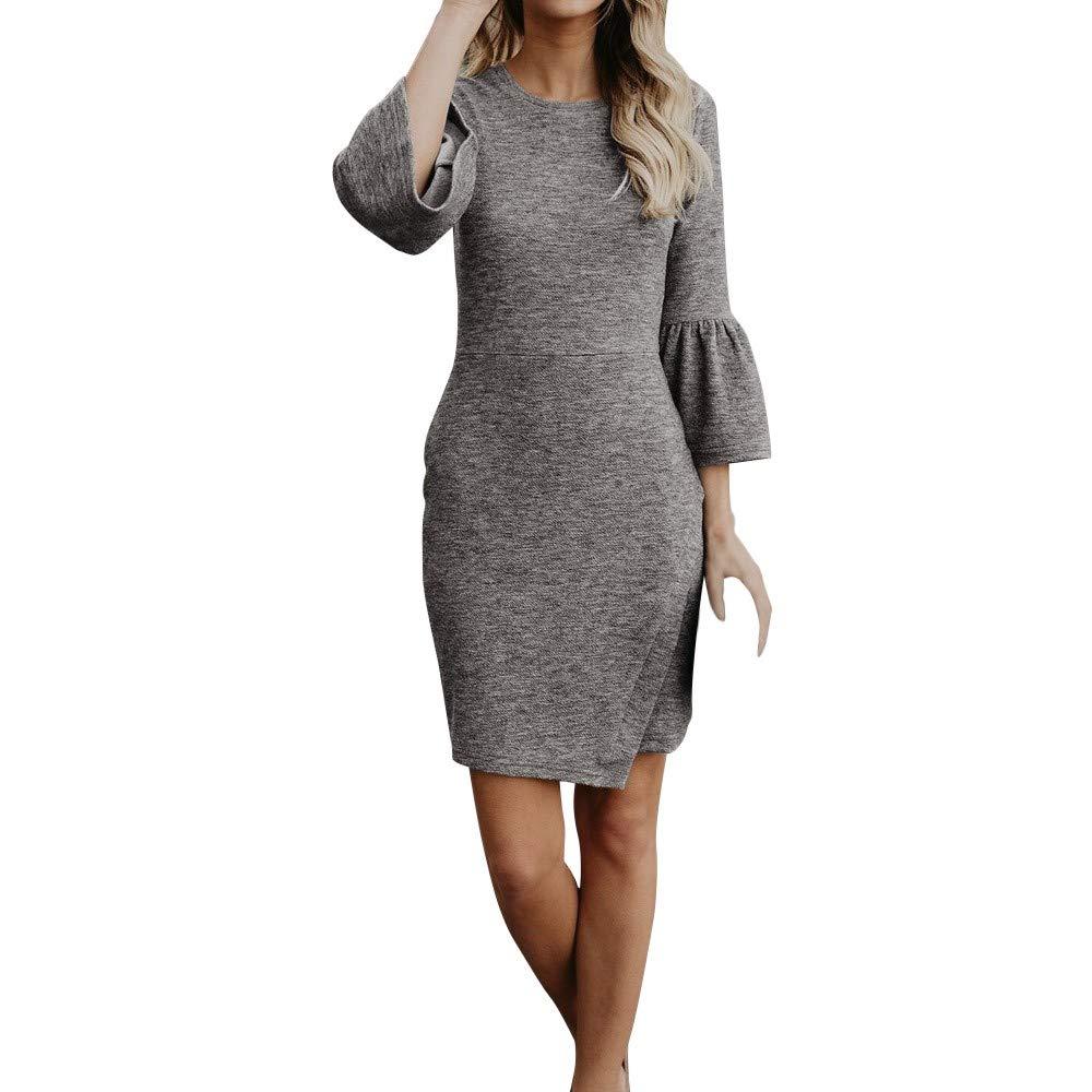 822b7de9295 Amazon.com: Women's Dresses,Venfamo Three Quarter Sleeve Dress Girls  Bodycon Dress Club Wear Ruffled Dress Mini Dress: Clothing
