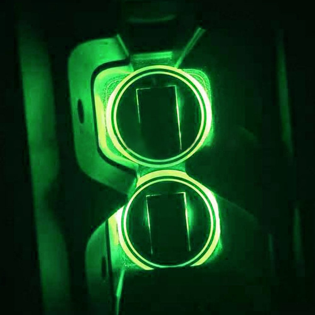 2pcs Car Solar Power Cup Holder Bottom Mat Pad -LED Cup Holder Lights -LED Light Cover Trim Atmosphere Lamp for SUV, Truck, Camper and Other Cars(Green)