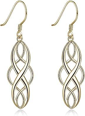 Sterling Silver Irish Vintage Celtic Knot Dangle Earrings Good Luck Celtics Earrings Jewelry for Women