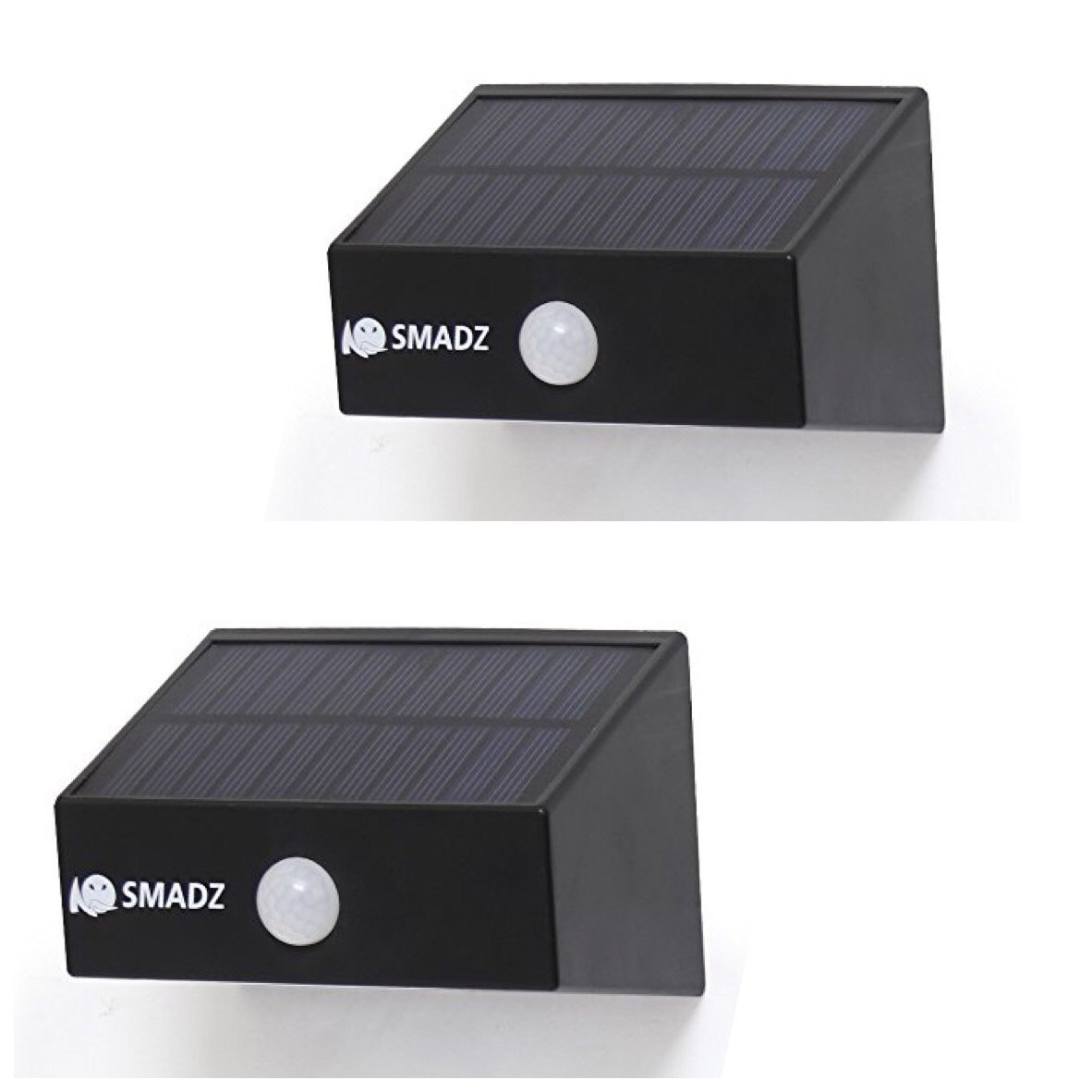 SMADZ SL12B Security Solar Motion Lights 8 LEDs Auto On/Off Wireless for Outdoor Garden Fence Wall Step Weatherproof (White Light,Pack of 2)