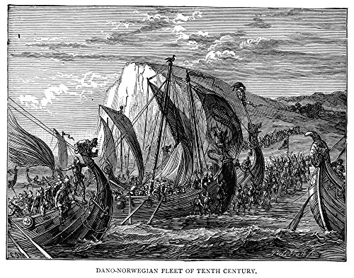 (Viking Ships 10Th Century Ndano-Norwegian Fleet Of The 10Th Century Wood Engraving 19Th Century Poster Print by (18 x 24))
